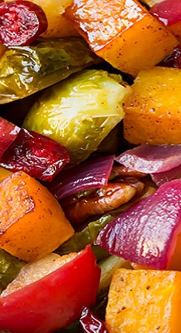 Autumn Roasted Veggies with Apples and Pecans