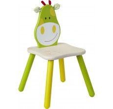 Ξύλινη καρέκλα με υφασμάτινες λεπτομέριες, η πλάτη της οποίας απεικονίζει μια καμηλοπάρδαλη. Είναι εργονομικά σχεδιασμένη με στρογγυλεμένες άκρες.