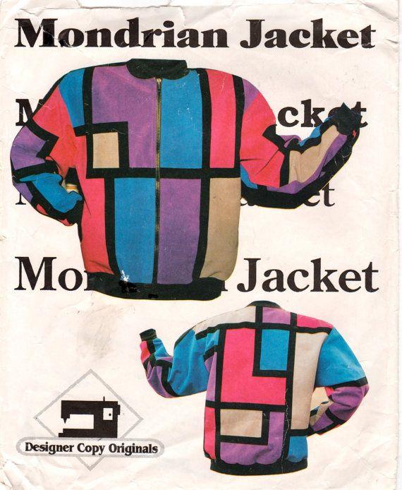 Designer Copy Originals 1980s Misses Zip Front Patchwork  Mondrian Jacket vintage sewing pattern by mbchills,