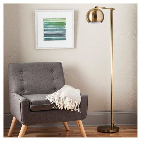 Target - Modern Globe Floor Lamp  - Brassy Gold (Includes CFL Bulb) - Threshold™ $63 - for downstairs - mix of metals would ad some warmth to the space
