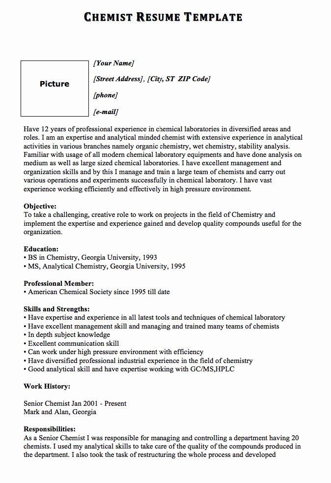 20 Entry Level Chemist Resume Sample Resume Templates
