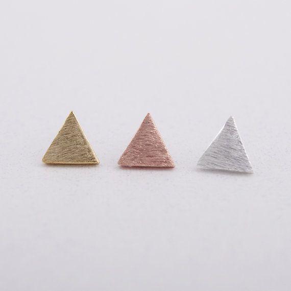 1 Piece-S019 Mode bijoux Nouveau Mignon Or Argent Rose Or Brossé Simple Triangle de Stud Boucles D'oreilles Pour Les Femmes Cadeau