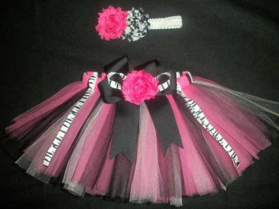 Hot pink Zebra Tutu set custom made any size by CatyRoseBows, $26.00