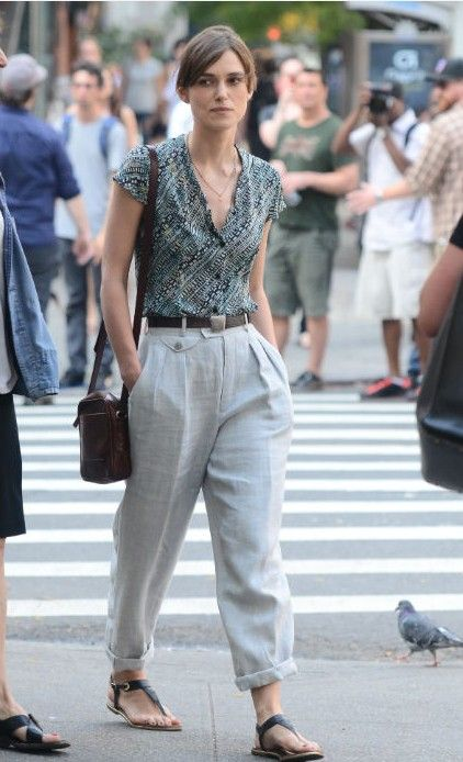 pants: vintage boater trousers top: loose blouse or fitted w/  bardot neck shoes: strappy berkenstocks or penny loafer