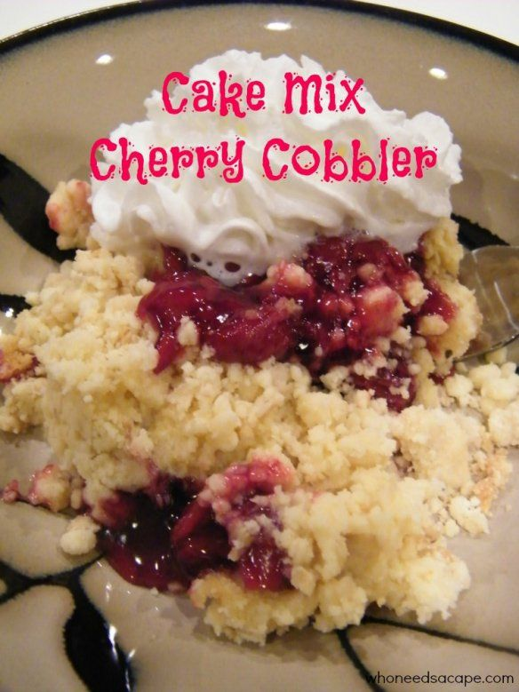 Cake Mix CherryCobbler 1 can cherry pie filling 1 pkg yellow or white cake mix 1 stick butter, melted 1 c. nuts (optional) Preheat oven to 400 degrees. Pour cherries in bottom of 9×13 inch pan. Sprinkle dry cake mix over cherries and do not stir. Pour melted butter over cake mix; sprinkle nuts on top.(optional) Do not mix. Bake at 400 degrees for 30 minutes, or until set. Delicious served with ice cream.