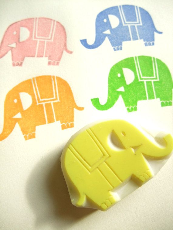 ELEPHANT hand carved rubber stamp - handmade rubber stamp - animal in the zoo. $9,00, via Etsy.