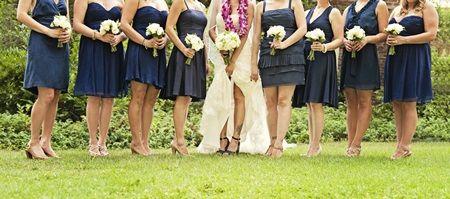 Short Navy Bridesmaids Dresses - mismatched!  they still look good!