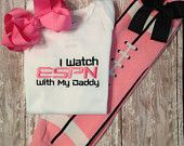 PINK I watch ESPN with my Daddy Bodysuit, pink Football Leggings with attached bow, and Bow Set
