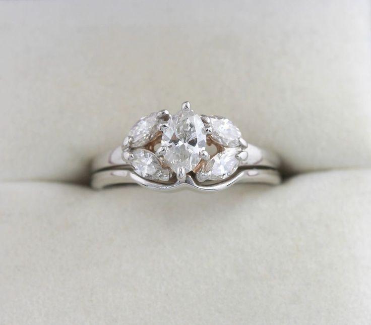 14K WG .98 1 CTW Marquise Cut Diamond Wedding Bridal Ring Set w/ App $3240
