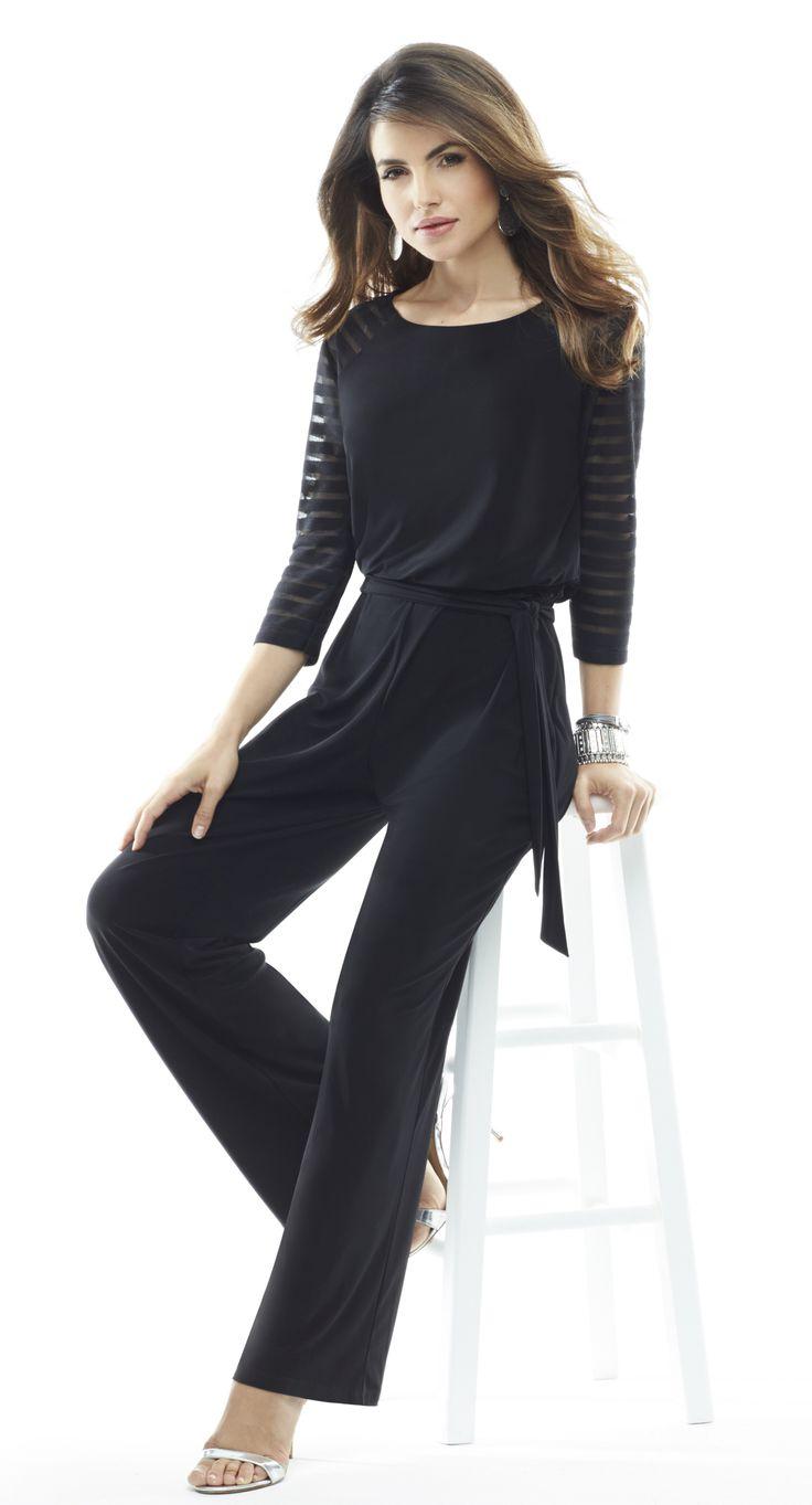 Chico S Petite Sheer Shoulder Black Jumpsuit On Pinterest