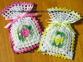 Hobby lavori femminili - ricamo - uncinetto - maglia: sacchettini bomboniere uncinetto