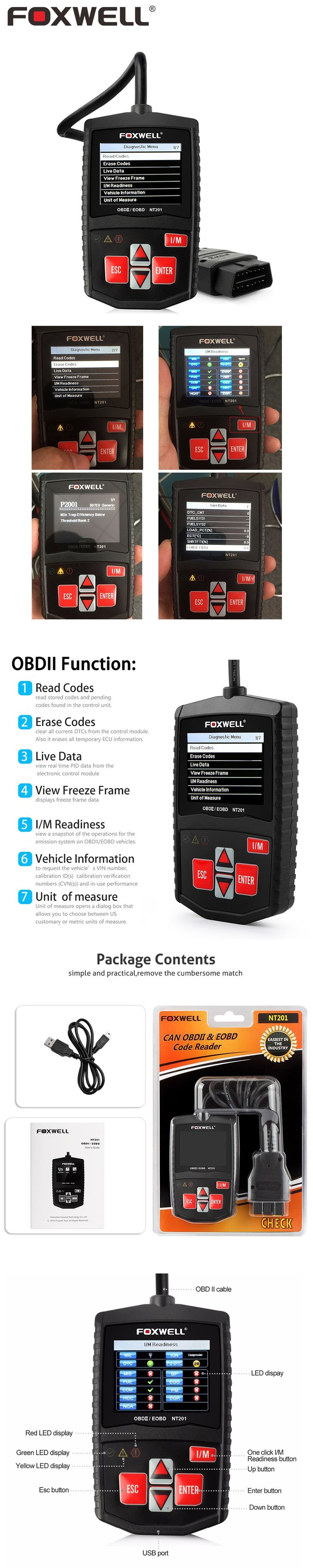 FOXWELL NT201 Car OBD2 Engine Analyzer Turn Off MIL Malfunction Indicator Light Auto OBD 2 Diagnostic Scanner Clear Errors Tool
