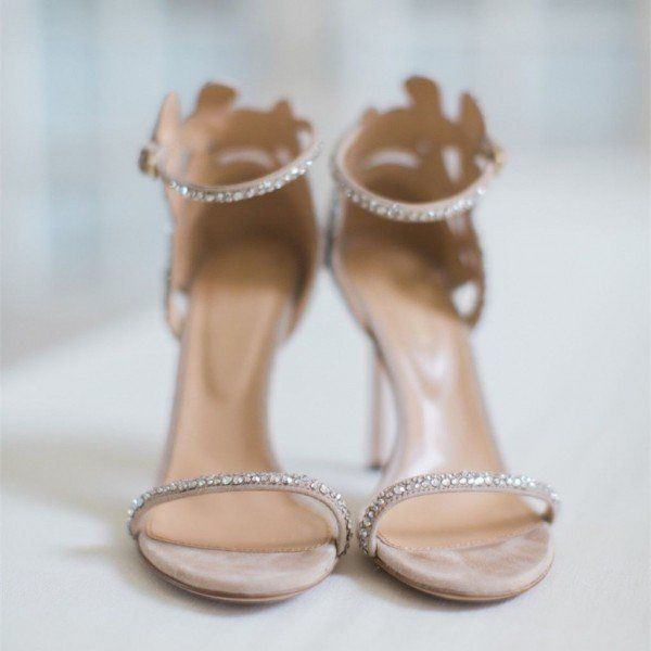 Champagne Wedding Shoes Rhinestone Stiletto Heels Bridal Sandals For Formal Event Party Dancing Club Ball Wedding Shoes Heels Bridal Sandals Wedding Shoes