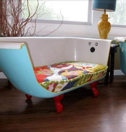 such a great way to upcycle!  It looks like Mickey (faucet area) one teacher had this in her room as a reading corner