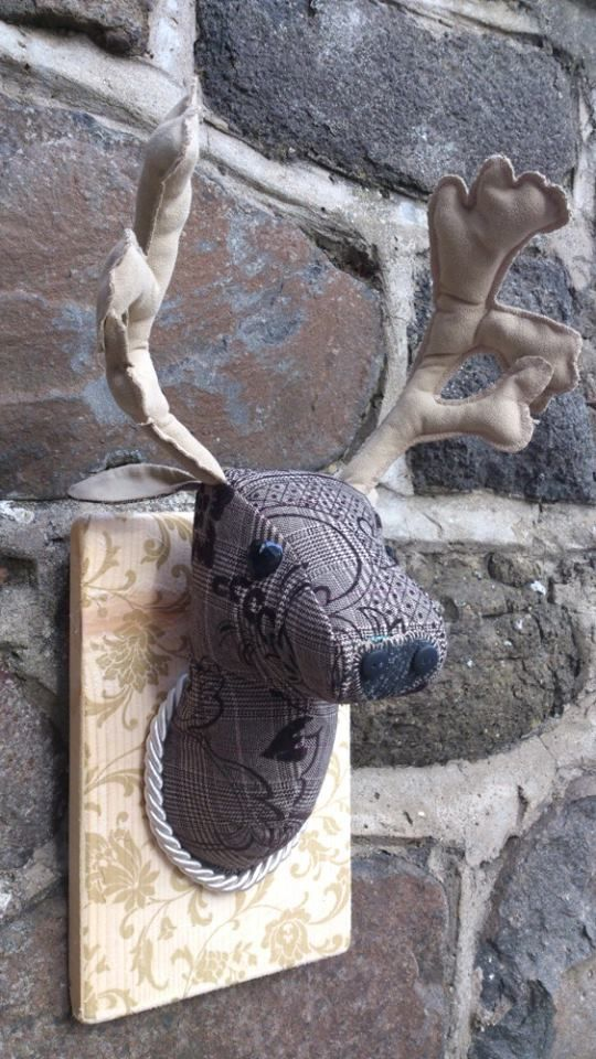handmade tweed fabric reindeer, stag, deer trophy head. www.mishascountry...