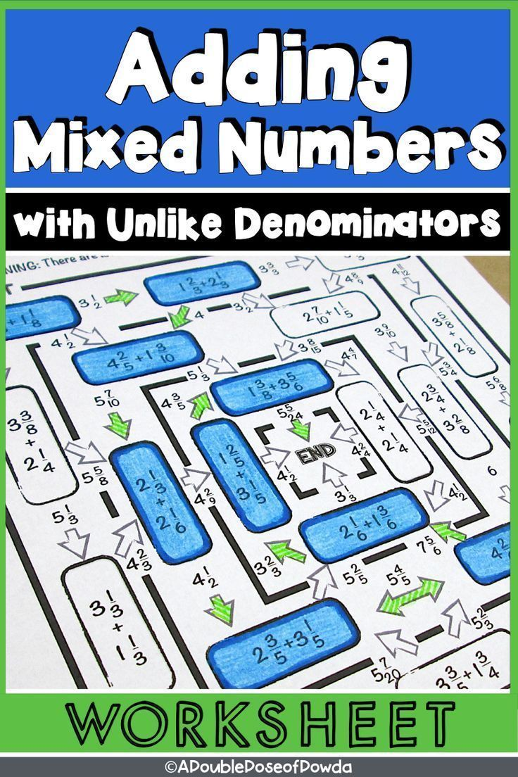 Adding Mixed Numbers With Unlike Denominators Worksheet Adding Mixed Number Elementary Math Centers Math Fractions Worksheets adding mixed numbers with