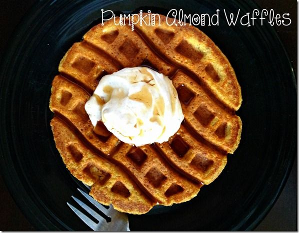 low carb, pumpkin waffles made with almond meal/flour
