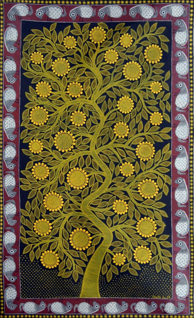 "Kalpvriksha (The tree of life) | Madhubani Painting by Amrita Jha. 59"" x 36"", acrylic on paper."