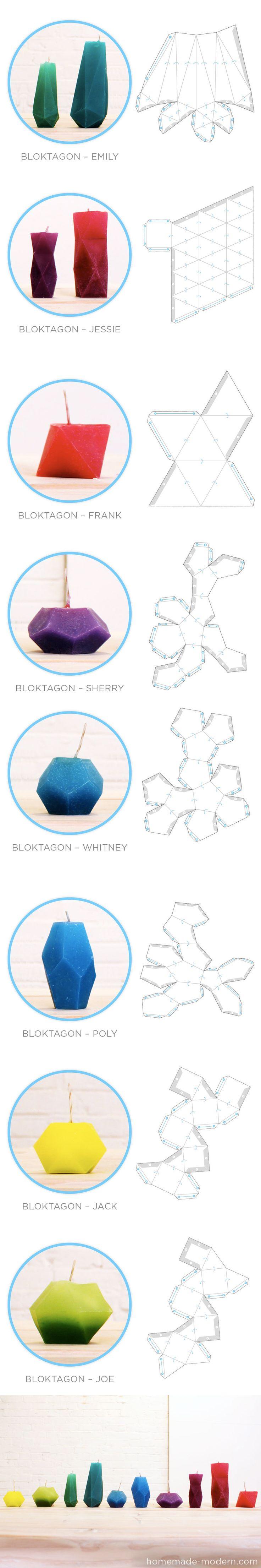 candles~ Bloktagons, unos originales moldes para crear velas y floreros / via homemade-modern