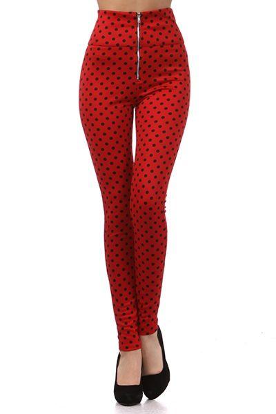 Marilyn Inspired Pin Up Clothing Pants: High Waist Polka Dot Pin Up Pants