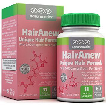 HairAnew (Unique Hair Growth Vitamins with Biotin) - Tested - For Hair, Skin & Nails - Women & Men - Addresses Vitamin Deficiencies That Could Be The Cause of Hair Loss / Lack of Regrowth 60 VCaps