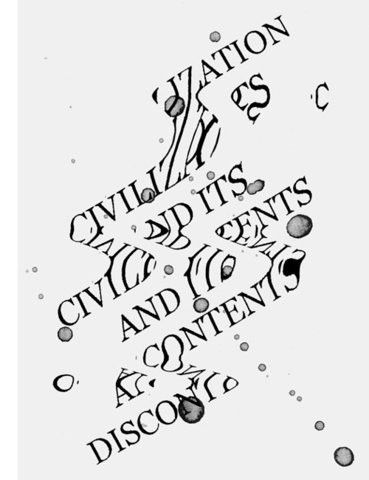 The distorted letter forms create movement and flow on the page. Although the piece is abstract the text is still clearly readable.