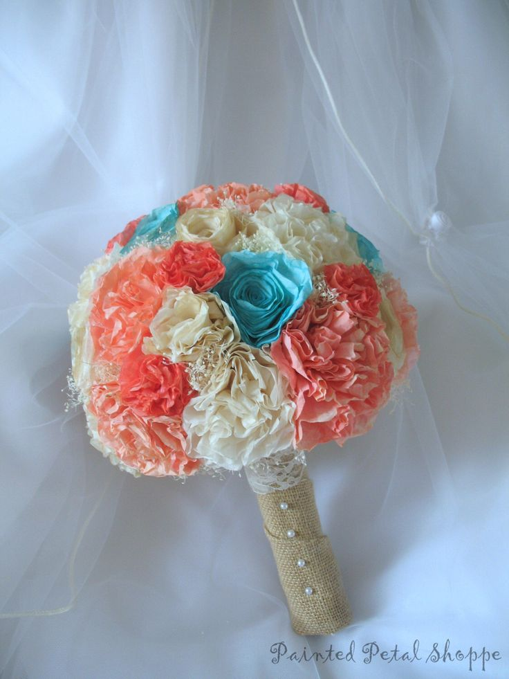 Coffee Filter Bridal Bouquet/ Teal/ Coral/ Cream/ Ivory/ Rustic Bridal Bouquet by PaintedPetalShoppe on Etsy https://www.etsy.com/listing/248099527/coffee-filter-bridal-bouquet-teal-coral