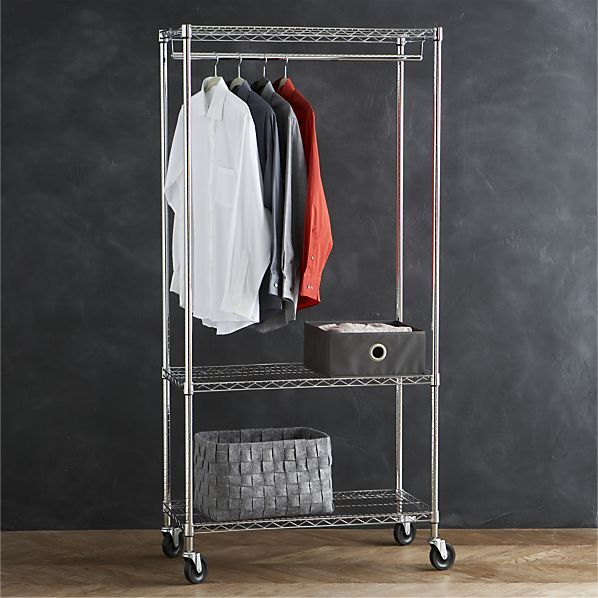 Work Mobile 3-Shelf Garment Rack in Laundry | Crate and Barrel