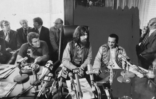 July 27,1971, a press conference was held at ABKCO offices in NYC with George Harrison, Ravi Shankar and business manager, Allen Klein to promote The Concert For Bangladesh relief concert to be held at Madison Square Garden on Sunday, August 1,1971 in a series of two concerts that day. George admitted that he was nervous about being center and front stage, that he'd rather be part of a band, but money needed to be raised and quickly to help.
