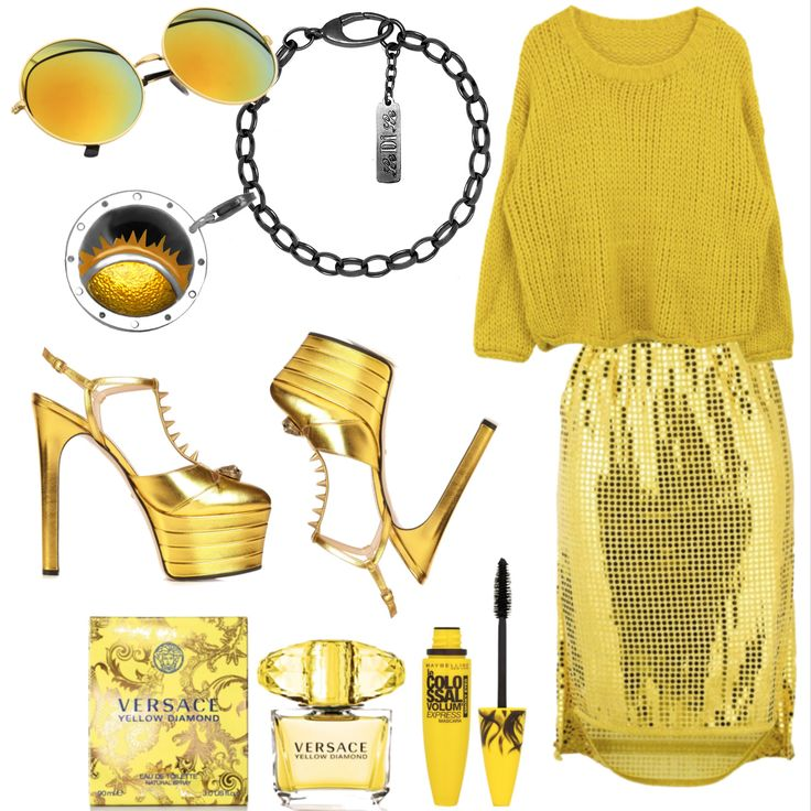 yellow charms sun glasses fashion outfit bracelet silver  чармы мода лук