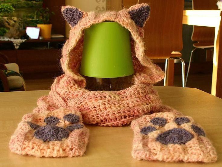 Γατόκασκόλ με κουκούλα - Crochet  CatScoodie