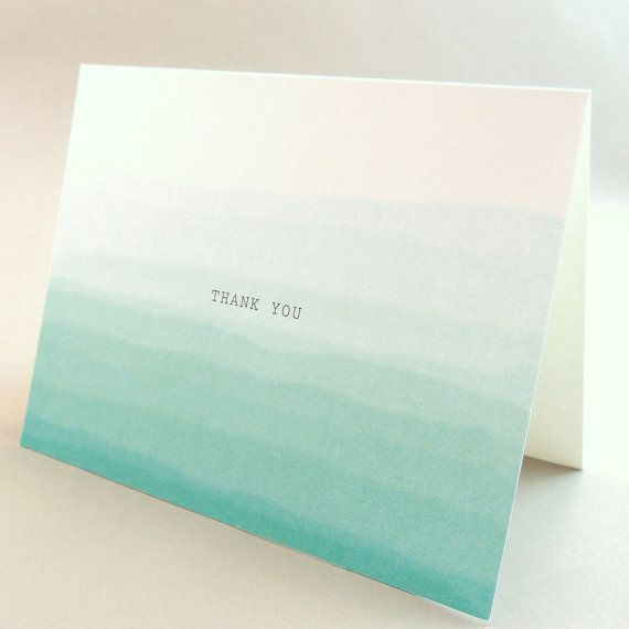 Eve Suite - Teal Blue Ombre Wedding Thank You Card - Watercolor Faded Card -  Customizable Wedding Thank You Card - Sample