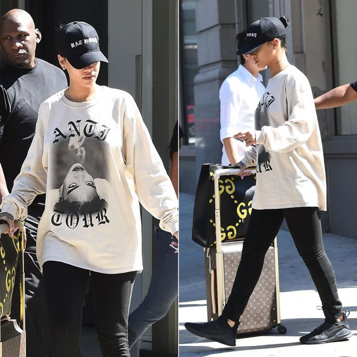 Rihanna Anti Tour beige smoking sweatshirt, Fenty x Puma logo sweatpants and The Trainer black sneakers, Louis Vuitton Horizon 55 monogram rolling case, Gucci graffiti XL tote, Jean Paul Gaultier 56-8171 vintage sunglasses