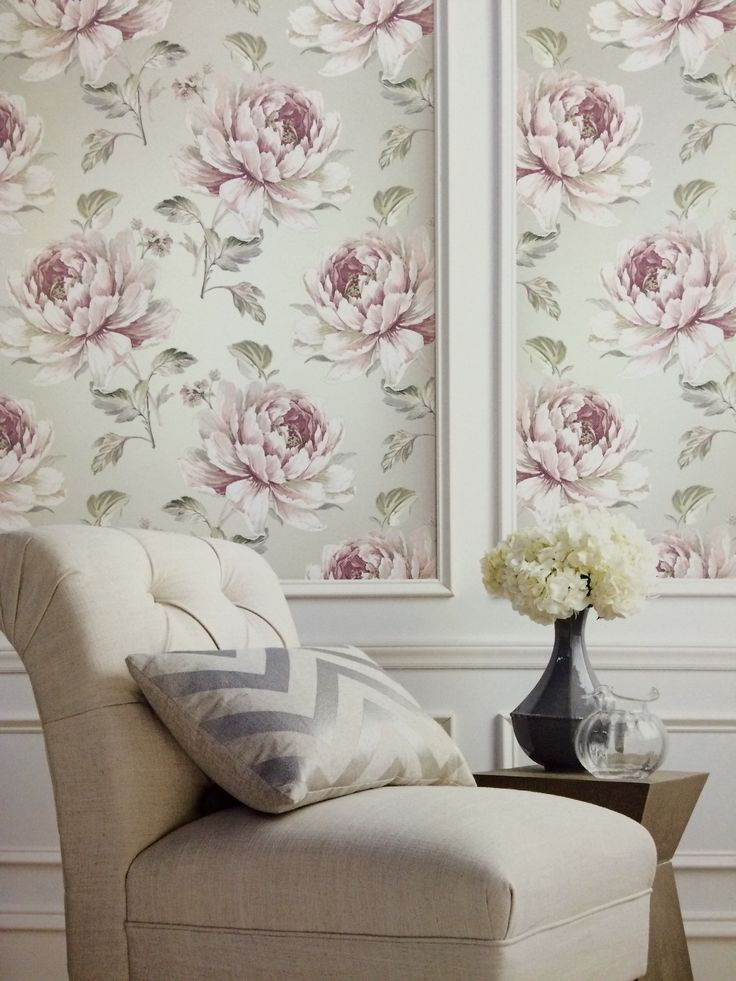 Create an elegant space with wallpaper. Jarrow in gray and pink by Carl  Robinson available