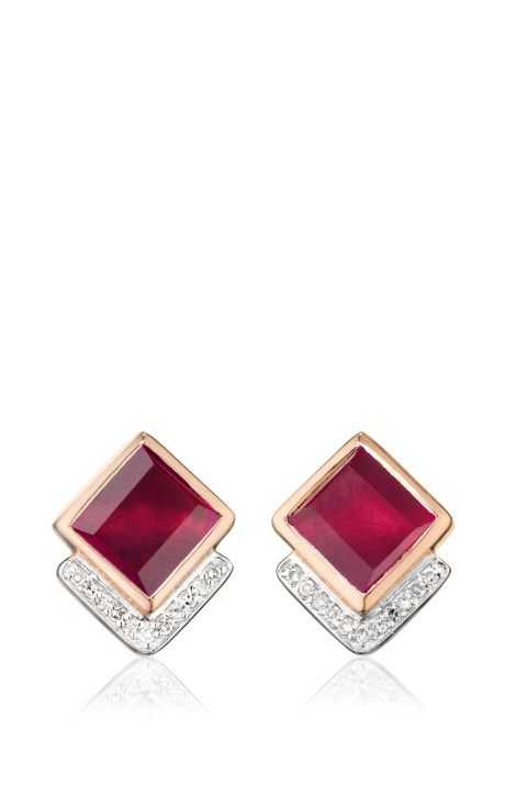 Baja Precious Earrings In Ruby And Diamond by Monica Vinader for Preorder on Moda Operandi