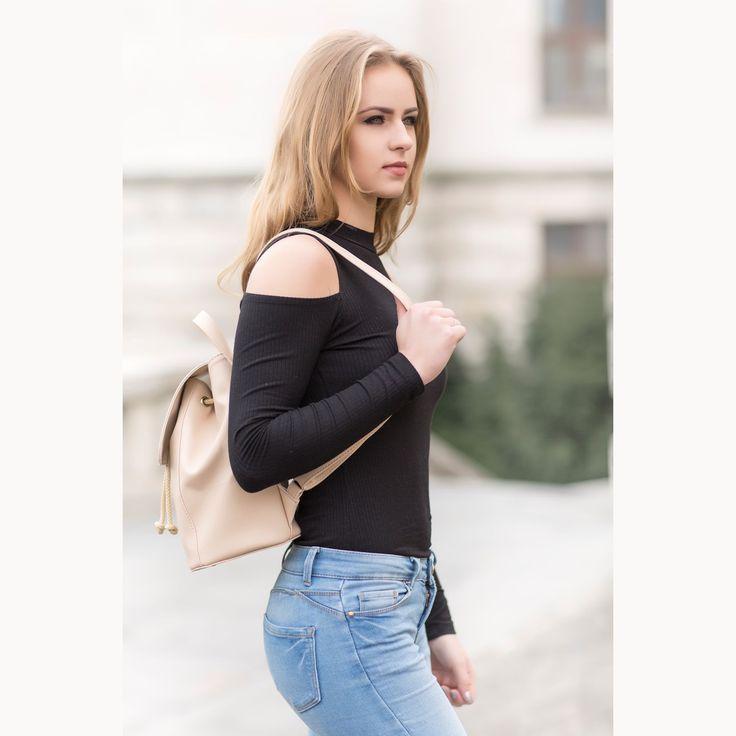 Luxusný dámsky módny kožený ruksak 8659k v bežovej farbe | Luxusné a módne šperky, doplnky, ozdoby, darčeky