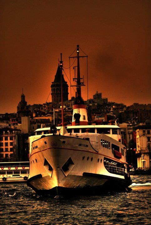 Galata Tower and the boat