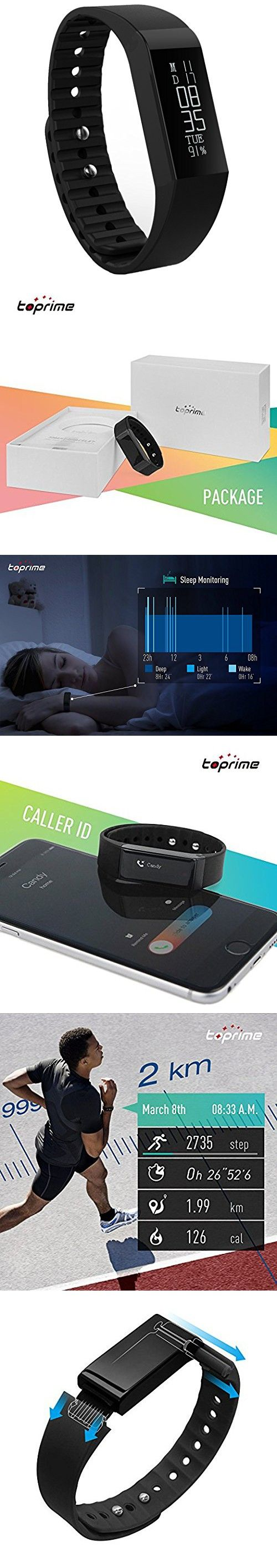 Toprime Fitness Activity Tracker Track Steps Calorie Burned Sleep Quality Work with App Via Bluetooth for ios and Android Built in USB Charge