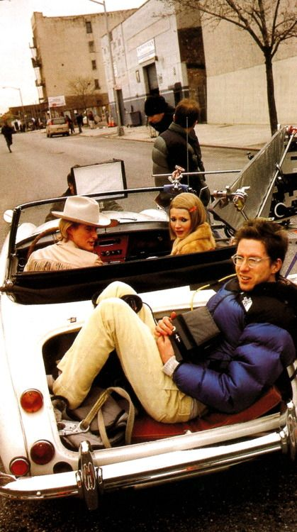 Owen Wilson, Gwyneth Paltrow, and Wes Anderson on the set of The Royal Tenenbaums
