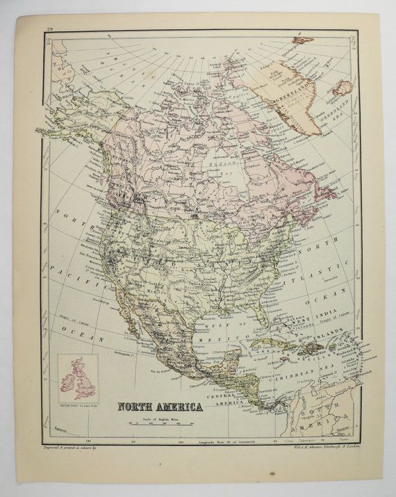 189 best antique world maps and hemisphere maps images on pinterest old north america map south africa map 1875 johnston map vintage decor map north america old world decor gift under 20 africa gift gumiabroncs Images