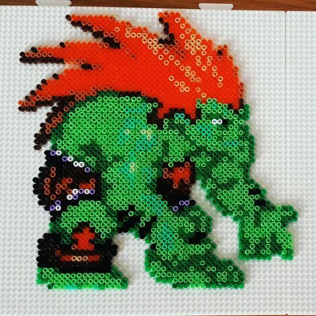 Blanka - Street Fighter perler beads by custombeadart