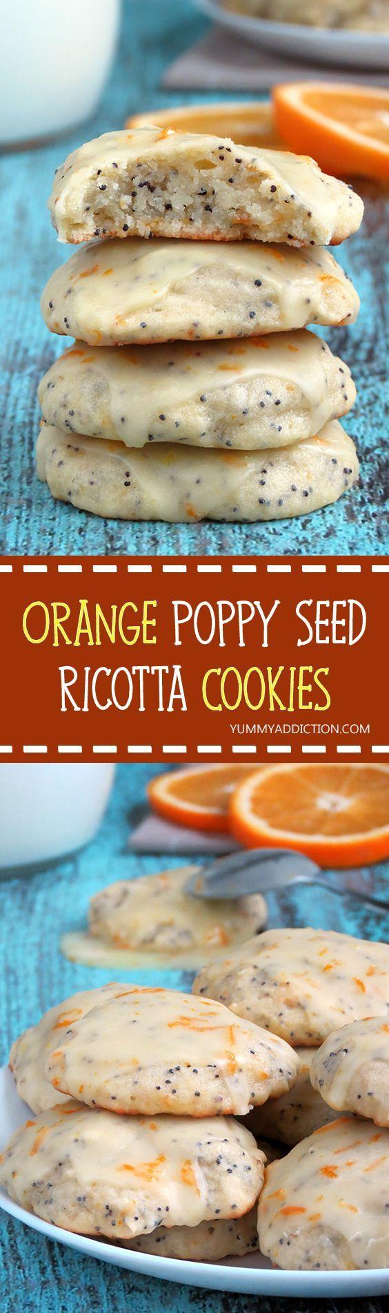 Vanilla and Cardamom flavored Orange Poppy Seed Ricotta Cookies | YummyAddiction.com