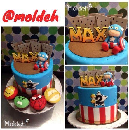 Pastel de Capitán América y Cupcakes de Avengers // Captain America cake and Avengers Cupcakes