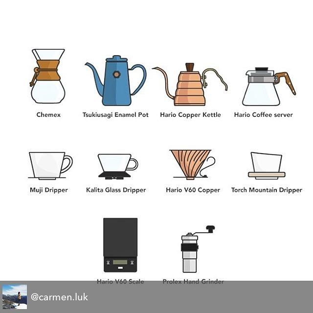 #thanksforsharing Repost from Carmon @carmen.luk - thank you for including so many of our coffee equipment's including the Mountain Dripper in your illustrations! Beautiful