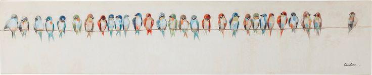 Obraz s ručními tahy Birds Meeting 30x150cm