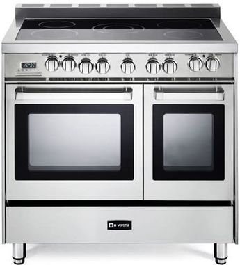 Verona VEFSEE365DSS 36 Inch Double Oven Electric Range with 3.9 cu. ft. Total Oven Capacity, 5 Radiant Heating Elements, European Convection, Closed Door Broil, EZ Clean Porcelain Oven Interior, Clock and Timer and Storage Drawer