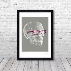 Skull Grey & Pink Art Print by Pencil & Hammer