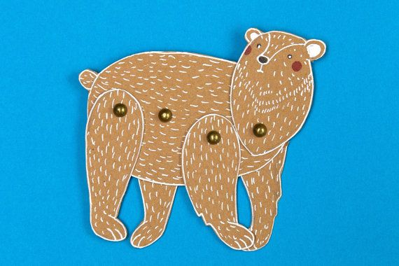 Polar bear - articulated craft-paper doll with brads