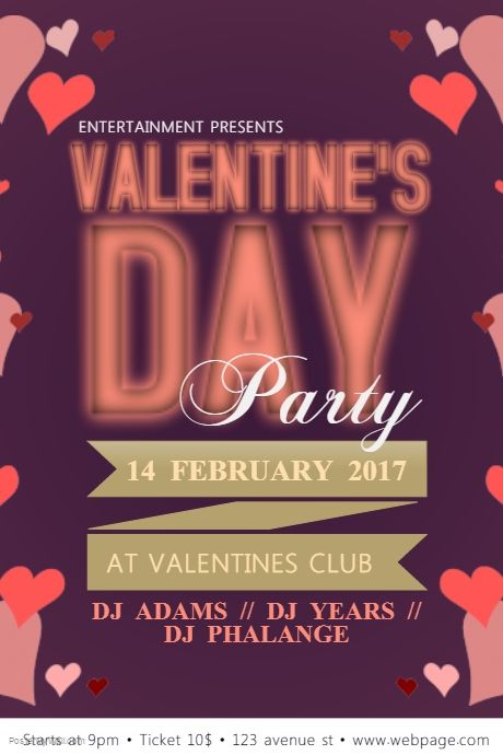 valentines day poster template postermywall