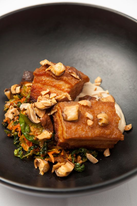 Pork belly, kimchi, smoked tofu, shiitake, peanuts by Peter Gordon ...
